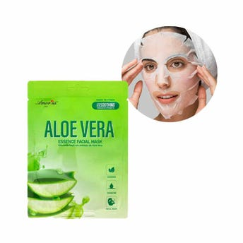 Mascarilla facial textil de áloe vera, hidrata y relaja la piel, AMOR US, 25 grs.