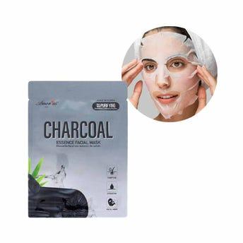 Mascarilla facial textil de carbón, desintoxica, hidrata y purifica la piel, AMOR US, 25 grs.