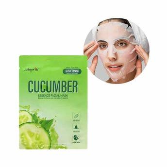 Mascarilla facial textil de pepino, suaviza y nutre la piel, AMOR US, 25 grs.