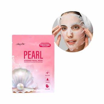 Mascarilla facial textil de extractro de perla, hidrata e ilumina la piel, AMOR US, 25 grs.