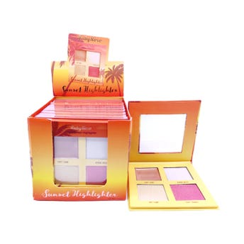 Iluminador en polvo, paleta con 4 tonos surtidos, SUNSET RUBY ROSE, light, 3.3 gr C/U.