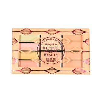 Corrector en crema, paleta con 8 tonos, RUBY ROUSE, grupo 2 lightm a medium, 1.1 y 2.3 gr,