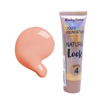 Maquillaje líquido, NATURAL LOOK RUBY ROSE, nude tono 4, 29 ml, por pieza.