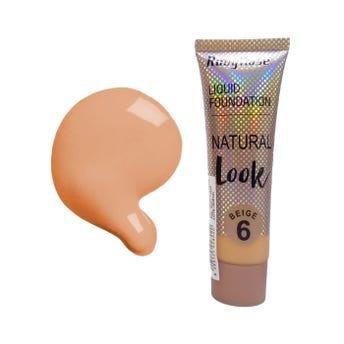 Maquillaje líquido, NATURAL LOOK RUBY ROSE, beige tono 6,  29 ml, por pieza.