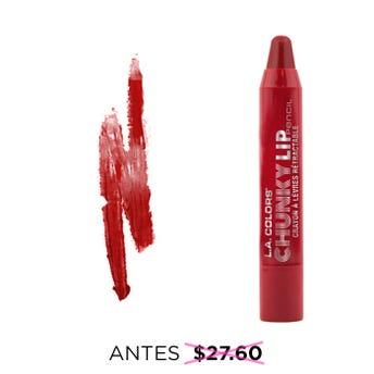Lápiz jumbo para labios retráctil, CHUNKY L.A. COLORS, rojo oscuro, 2.7 grs.