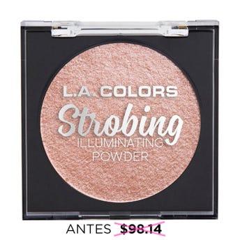Iluminador en polvo con espejo y esponja aplicadora, STROBING L.A. COLORS, belleza bronce, 6.5 grs.