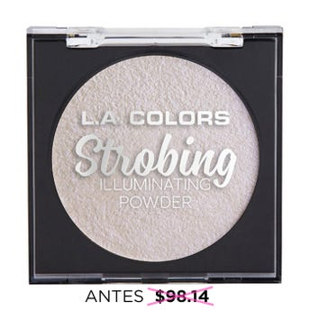 Iluminador en polvo con espejo y esponja aplicadora, STROBING L.A. COLORS, perla iridiscente, 6.5 gr
