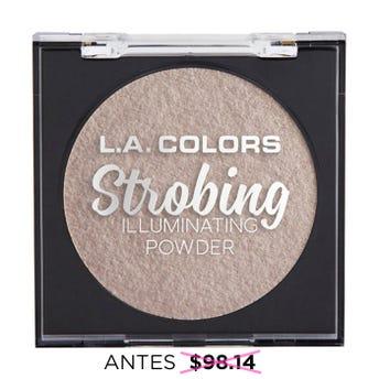 Iluminador en polvo con espejo y esponja aplicadora, STROBING L.A. COLORS, luz de mañana, 6