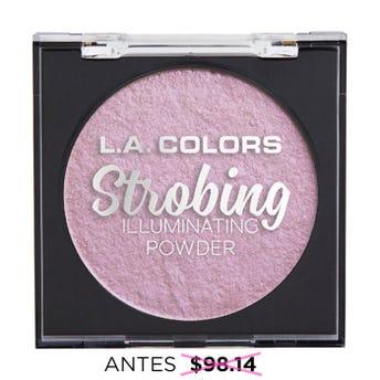 Iluminador en polvo con espejo y esponja aplicadora, STROBING L.A. COLORS, brillo rockin, 6.5 grs.