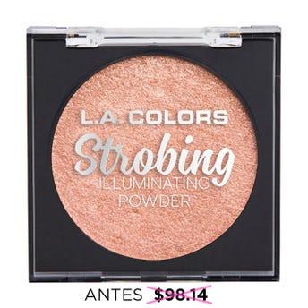Iluminador en polvo con espejo y esponja aplicadora, STROBING L.A. COLORS, luz de verano, 6.5 grs.