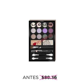 Sombra para ojos, paleta con 14 tonos, lápiz delineador y brochas, L.A. COLORS, diva-pink/purbles, 1