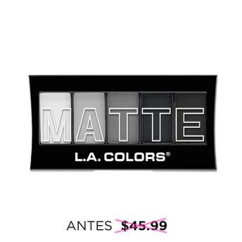 Sombra para ojos, paleta con 5 tonos matte y aplicador dúo, L.A. COLORS, black lace, 7.1 grs.