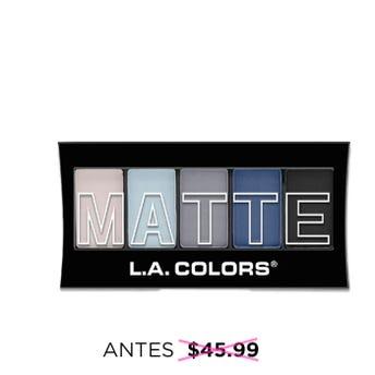Sombra para ojos, paleta con 5 tonos matte y aplicador dúo, L.A. COLORS, blue denim, 7.1 grs.