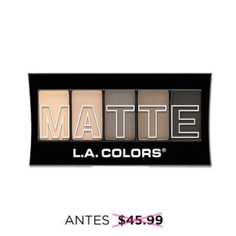 Sombra para ojos, paleta con 5 tonos matte y aplicador dúo, L.A. COLORS, nude suede, 7.1 grs.