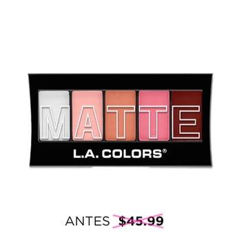 Sombra para ojos, paleta con 5 tonos matte y aplicador dúo, L.A. COLORS, pinkchiffon, 7.1 grs.
