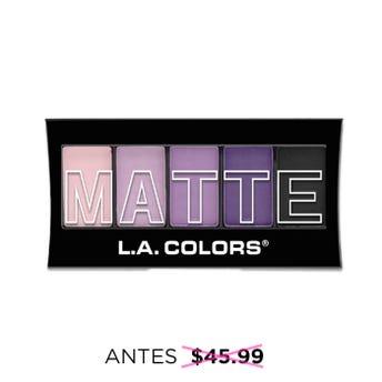 Sombra para ojos, paleta con 5 tonos matte y aplicador dúo, L.A. COLORS, purple cahsmere, 7.1 grs.