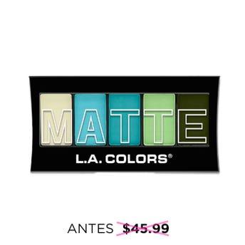 Sombra para ojos, paleta con 5 tonos matte y aplicador dúo, L.A. COLORS, teal argyle, 7.1 grs.