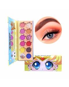 Sombra para ojos con espejo, paleta con 12 pastillas, CUTE GIRL ULTRAMO, 19.5 x 7.5 cm.