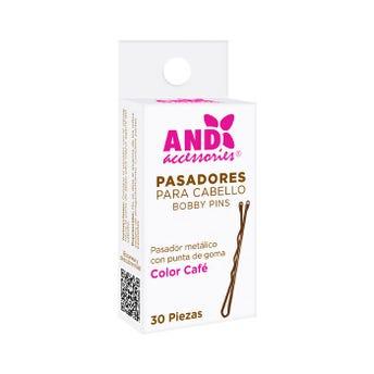 Pasador para cabello con punta de goma, AND, café, caja con 30 pz.