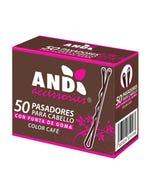 Pasador para cabello con punta de goma, AND, café, caja con 50 pz.