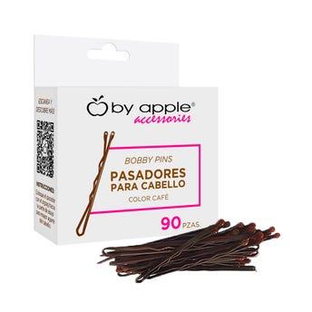 Pasador para cabello punta de goma, BY APPLE café, contiene 90 piezas.