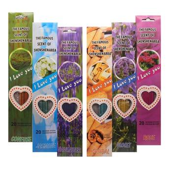 Paquete de 20 varitas de incienso, aromas surtidos