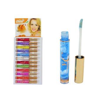 Lip gloss con glitter, VC, colores surtidos, 10.5 cm.