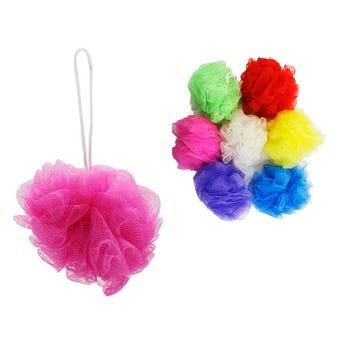 Estropajo borla para baño de colores surtidos, 11 cm, 28 grs