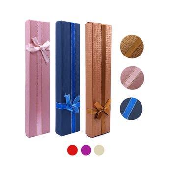 Caja para regalo con moño, 4 x 21 cm,docena por color.