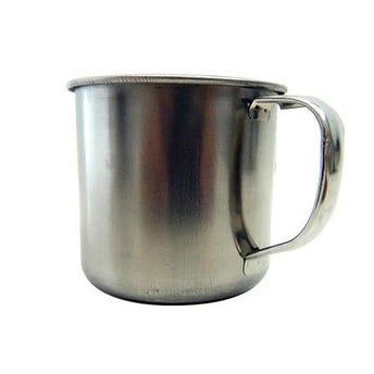 Pocillo de acero inoxidable, color único 130 ml, 6.5 X 6 cm.