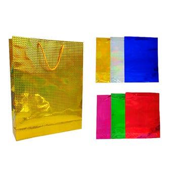 Bolsa para regalo de holograma, colores surtidos, 29.5 X 37.5 cm.