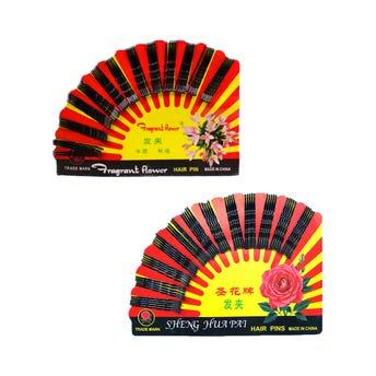 Pasador para cabello en cartón con 60 pz, negro, 4.5 cm.