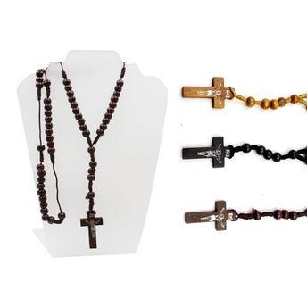 Collar rosario de madera, 3 colores surtidos 40 cm.
