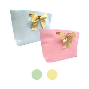Bolsa para regalo con moño textil PREMIUM horizontal, colores pastel surtidos, 17 x 32 x 7.5 cm.