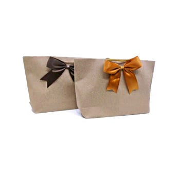 Bolsa para regalo con moño textil PREMIUM KRAFT horizontal, 17 x 32 x 7 cm.