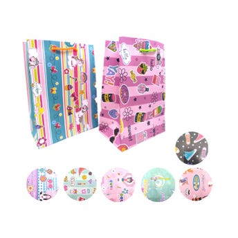Bolsa para regalo vertical para niña, modelos surtidos, 23 x 17 x 8.5 cm aprox