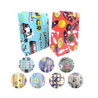 Bolsa para regalo vertical para caballero, modelos surtidos, 23 x 17 x 8.5 cm aprox