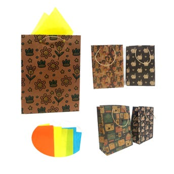 Bolsa para regalo vertical KRAFT para dama, modelos surtidos, 22 x 17 x 8 cm aprox