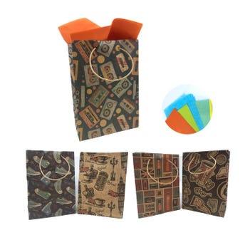 Bolsa para regalo vertical KRAFT para caballero, modelos surtidos, 23 x 17 x 8 cm aprox