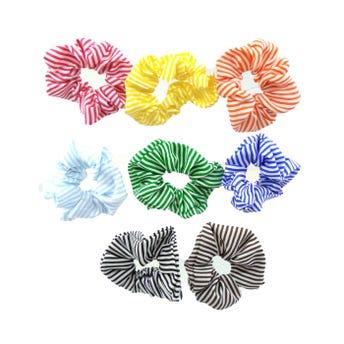 Dona para cabello textil de rayas, colores surtidos, 11 cm aprox.