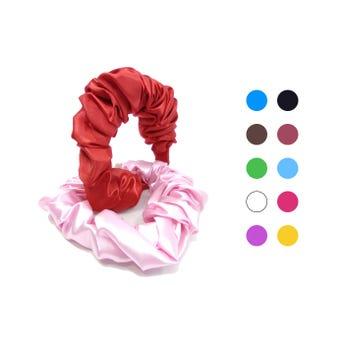 Diadema textil satinada plisada, colores surtidos, 4 cm aprox