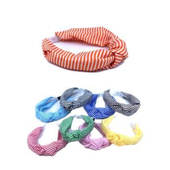 Diadema textil nuedo con estampado de rayas, colores surtidos, 4.5 cm aprox.