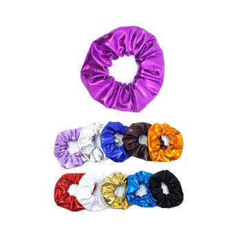 Dona para cabello textil, colores metalicos surtidos, 10 cm aprox.
