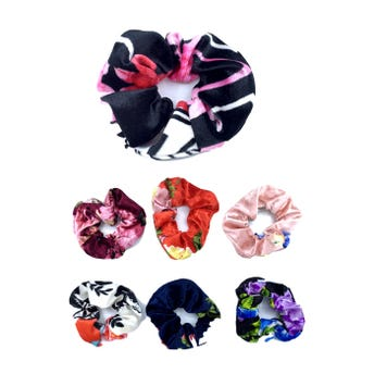 Dona para cabello de terciopelo estampado de flores, colores surtidos, 11 cm aprox