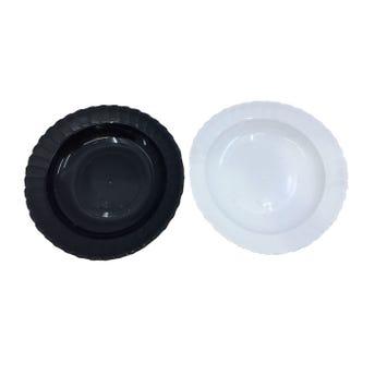 Plato sopero redondo, blanco y negro, 375 ml, 21 x 4 cm