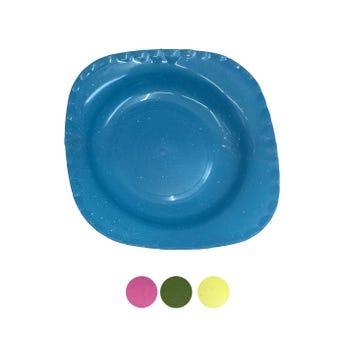 Plato sopero cuadrado tipo peltre, colores surtidos, 20 x 3.5 cm