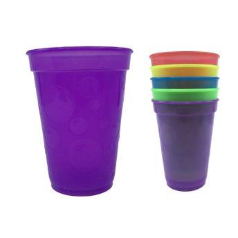 Vaso burbuja, colores translúcidos surtidos, 350 ml, 11.5 x 8.5 cm.