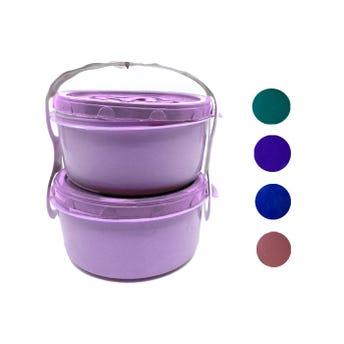 Topper portavianda con 2 pz, colores surtidos, 550 ml c/u, 12.5 x 6 cm.