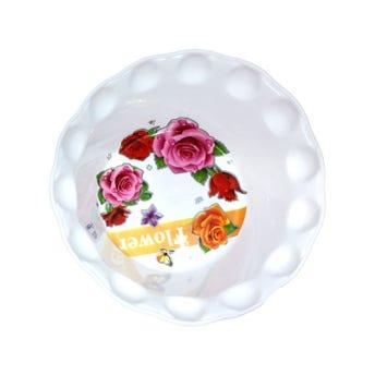 Plato pozolero decorado, blanco, 700 ml, 18 x 6 cm