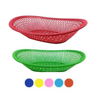 Frutero de plástico calado, colores surtidos, 31 x 21.5 x 6 cm
